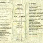 One side of menu - note the children's selections and vegetarian selections