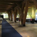  The lobby, with the rustic wooden structure