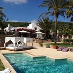 nice view of the pool and restaurant of Can Lluc (Ibiza)
