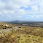 View from the mountain top of the Connemara countryside