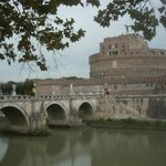 The Pont Sant'Angelo crosses the Tiber just in front of The Castel Sant'Angelo