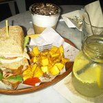 Meat Lovers Sandwich, Lemonade in a jar, iced cappucino