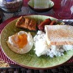  Filipino breakfast - rice, milk fish, egg, sausage