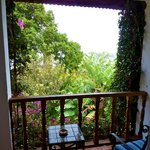  Our balcony. . .garden ate up much of view of lake and volcano.