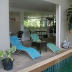 The sun loungers at the pool area