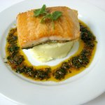  Salmon with a cream cheese &amp; garlic mash with a lemon herb dressing