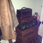 Old suitcases in the hallway in the nicely decorated 19th century home