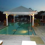  View of evening dining and pool