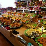 Selection of various, fresh tempura items at neighboring deli