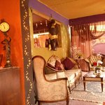 A glimpse of the interior, cozy and eclectic!