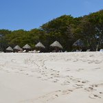 Private beach area with grass huts