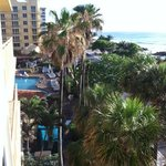 angle shot from our balcony.  we had an outside corner delux king ocean front