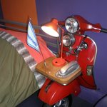  The Mod Room has half a scooter for a bedside table!
