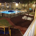 Night view of pool from block D