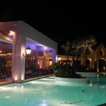 pool and bar in the evening