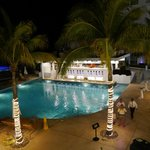 Swim up bar at night
