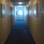dank hallway..smelled like cigarettes