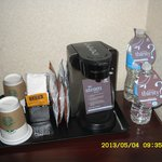 Coffee pot and water, small bottle was free, larger one was $4
