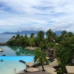  View from reception level over pools towards Moorea