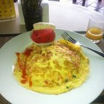 breakfast - Thai omelette with rice and fresh fruit
