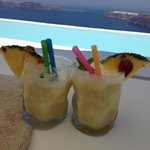 our complimentary cocktails at one of the infinity pools