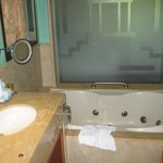  Separate bath, glass wall separating bedroom/bathroom