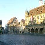 View from outside restaurant of Rothenberg's main square