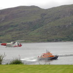  The lifeboat and helicopter on exercise