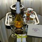 Our welcome sparkling wine and chocolates as a honeymoon couple