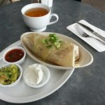 Lunch burrito and jasmine green tea.