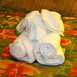 Cute towel animals made by housekeeping staff