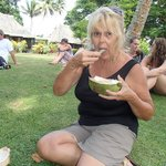 Coconut tasting in front of our Bure