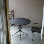 Table on the balcony - more then one chair would have been nice
