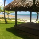  A view from one of the Cabana&#39;s with beach in the background!