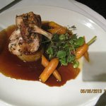 Roast chicken with potatoe rosti and carrots