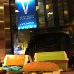  Wasabi burger and a view of my room.