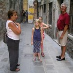 Discussing Venetian history and flooding in the backstreets with Karen