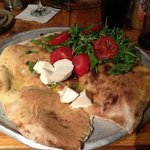  Focaccia with fresh tomatoes and cheese...yum.