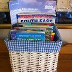  One of the baskets with maps and brochures for things to do