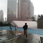 Roof top pool in a storm