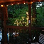 Back patio with lights on in the evening