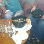 Pot of mussels from the bar menu