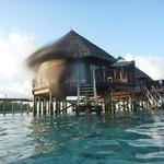  View of the water villas from the beach