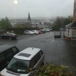  View from room over wet and grey Cork