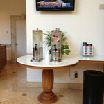 In the lobby we have fresh everyday different water with fruits