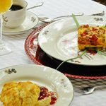  Gourmet Breakfast - Fresh Herb Soufle, fresh fruit, homemade biscuits and more