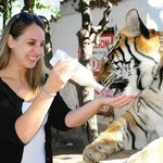 Myself, feeding a tiger!! <3