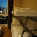 small beds...the double bed is placed very near to the double decker (bottom-left corner).