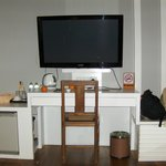 Large TV and Desk with Amenities