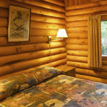 Cusheon Lake resort - log cabin bedrooms